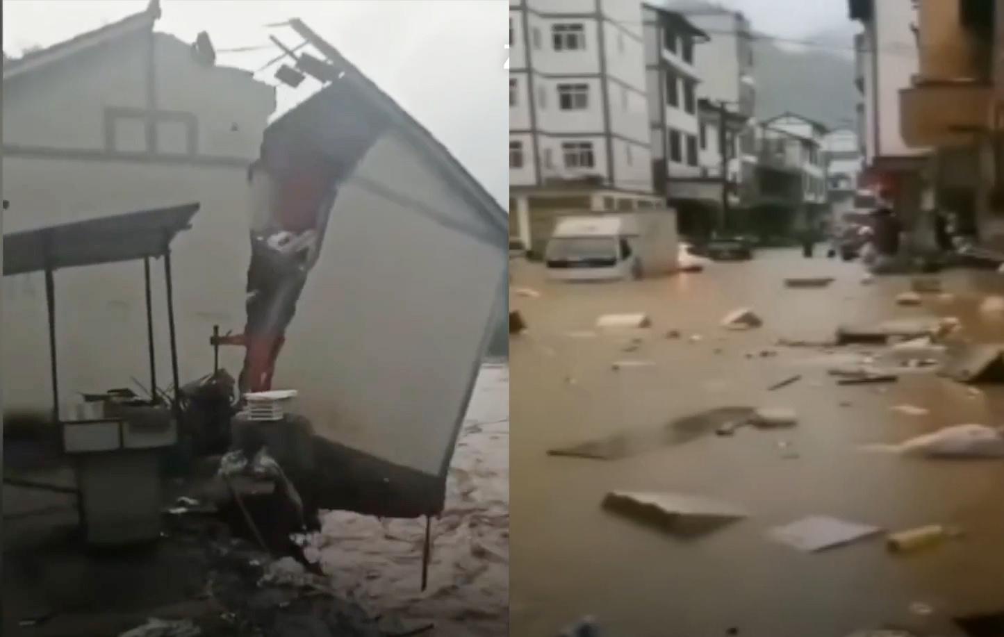 Lũ lụt chết người phá hủy nhà cửa, cuốn trôi xe cộ tại Trung Quốc