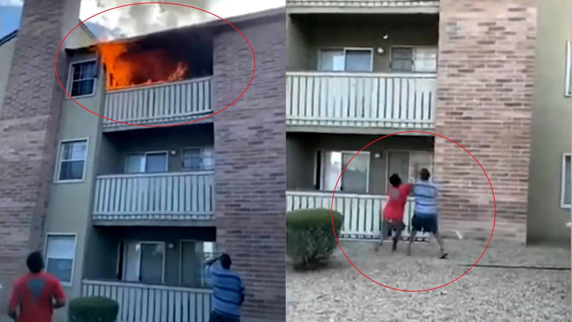 Mẹ ném con từ lầu 3 tòa nhà cháy, người bên dưới đỡ được đứa trẻ