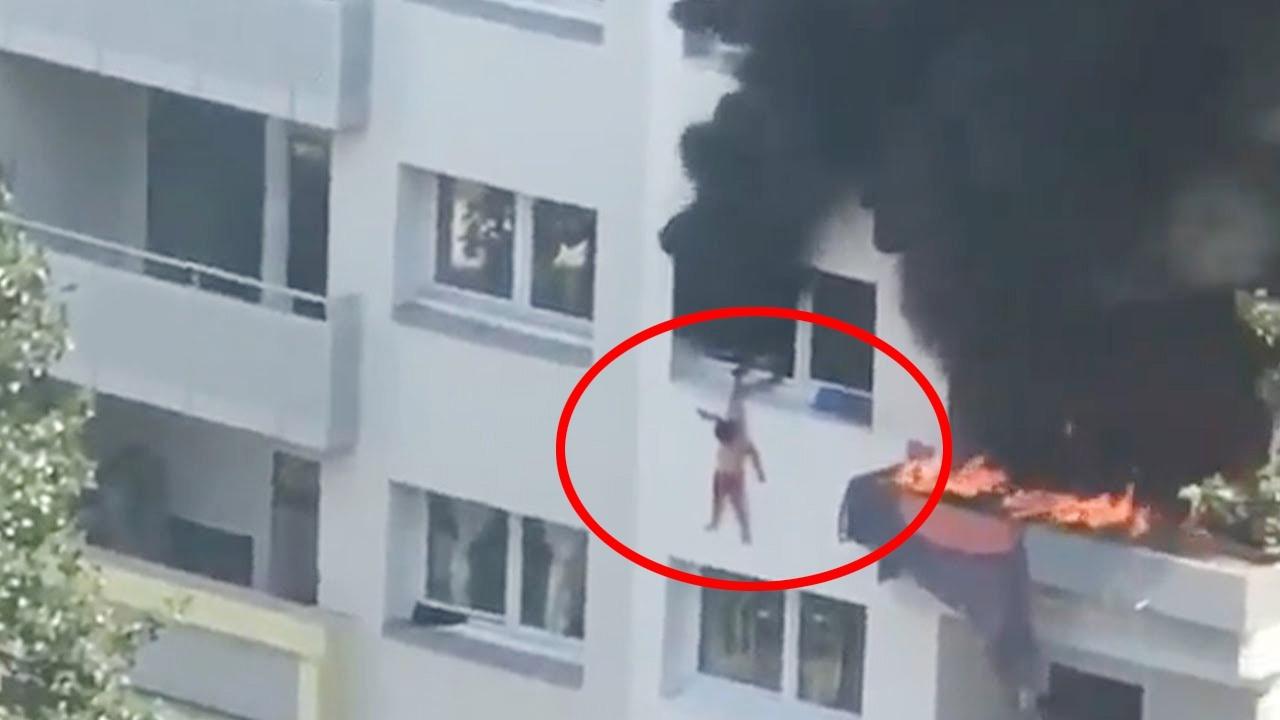 Hai đứa trẻ thoát chết khi nhảy từ tầng 3 căn nhà đang cháy