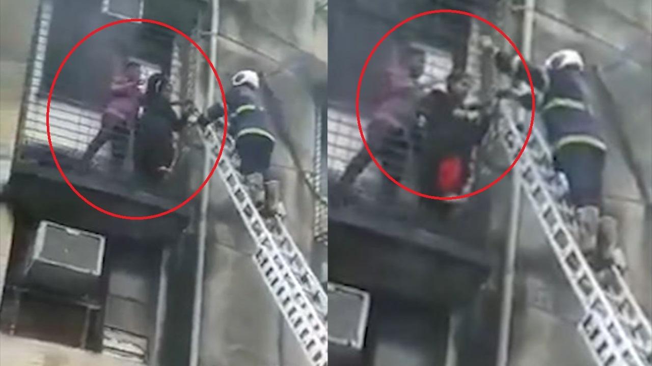Đội cứu hỏa giúp dân bị kẹt trong đám cháy ở Mumbai