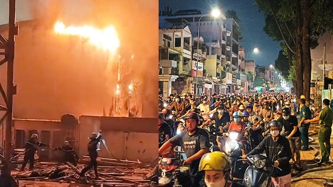 TP.HCM: Cháy phim trường ở Gò Vấp, hàng ngàn phương tiện thất thủ