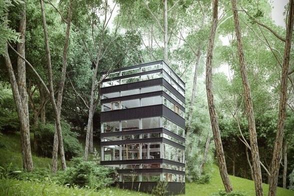 Ngôi nhà lạ ẩn giữa rừng ở Nhật Bản