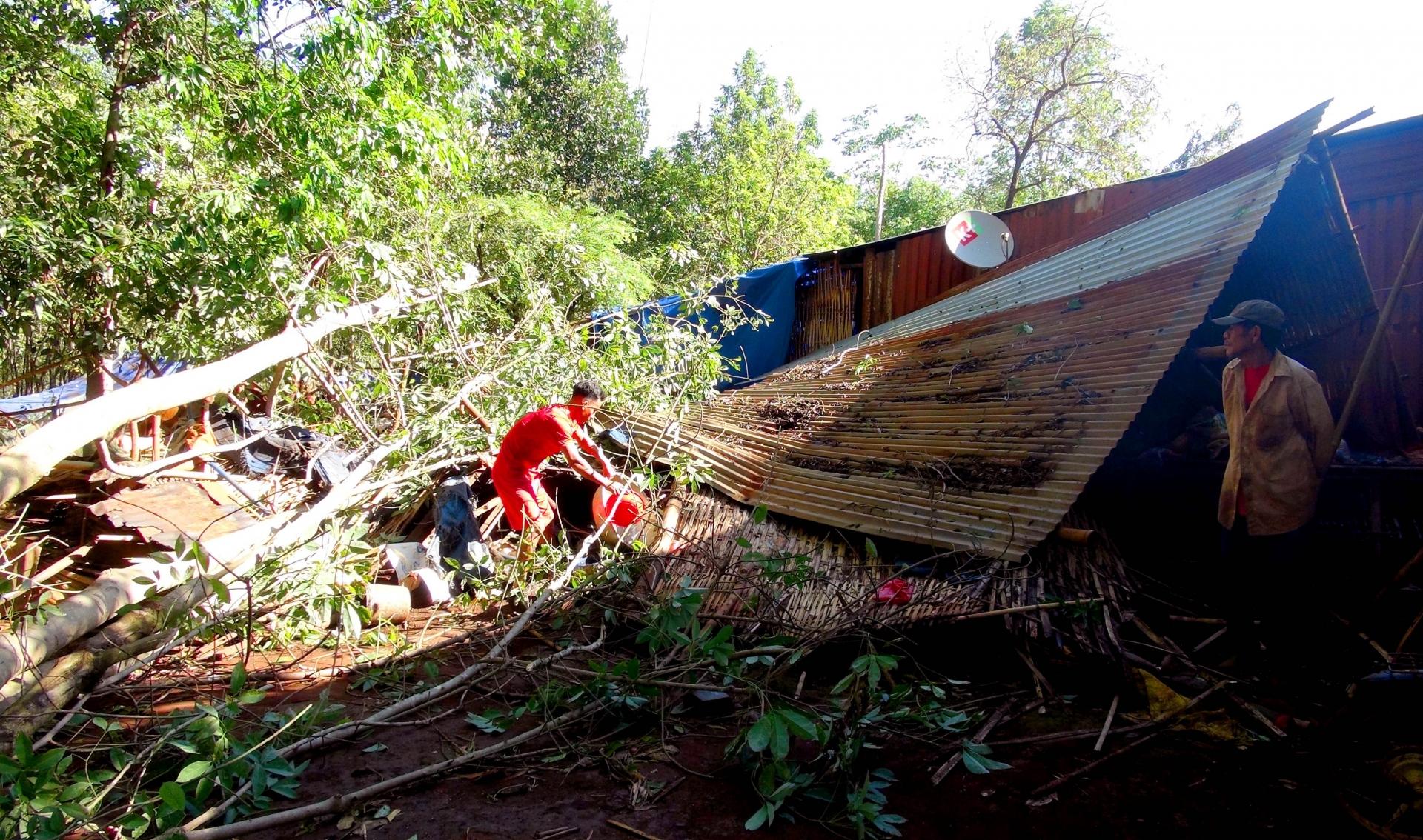 Lốc xoáy làm tốc mái gần 20 ngôi nhà ở Bình Phước