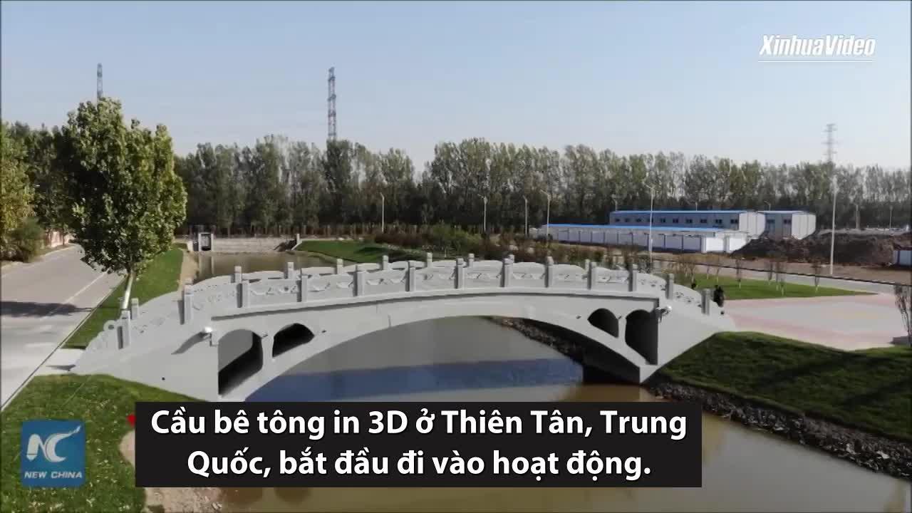 Trung Quốc xây cầu bê tông in 3D dài 28 m